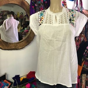 Mexican White Blouse w/Colorful Floral Embroidery